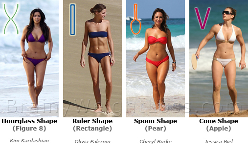 Female Body Shape: Hourglass, Ruler, Spoon & Cone