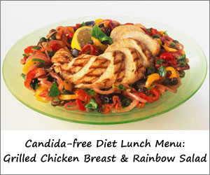 Candida Free Diet Lunch Menu: Grilled Chicken Breast & Rainbow Salad