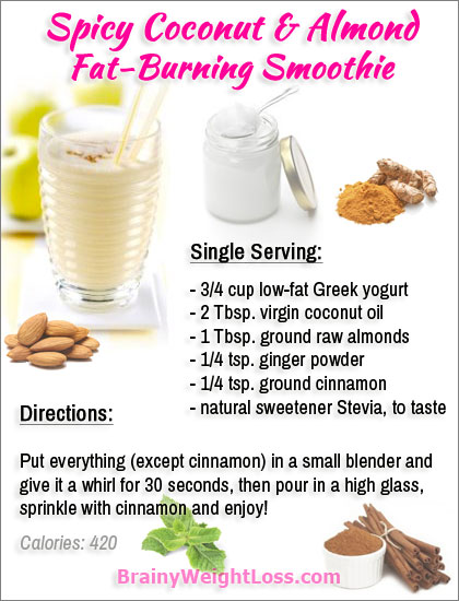 Coconut Oil Recipes: Spicy Coconut & Almond Fat-Burning Smoothie