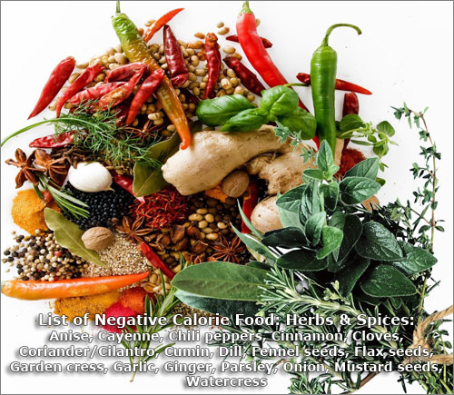 List Of Negative Calorie Food: Herbs and Spices